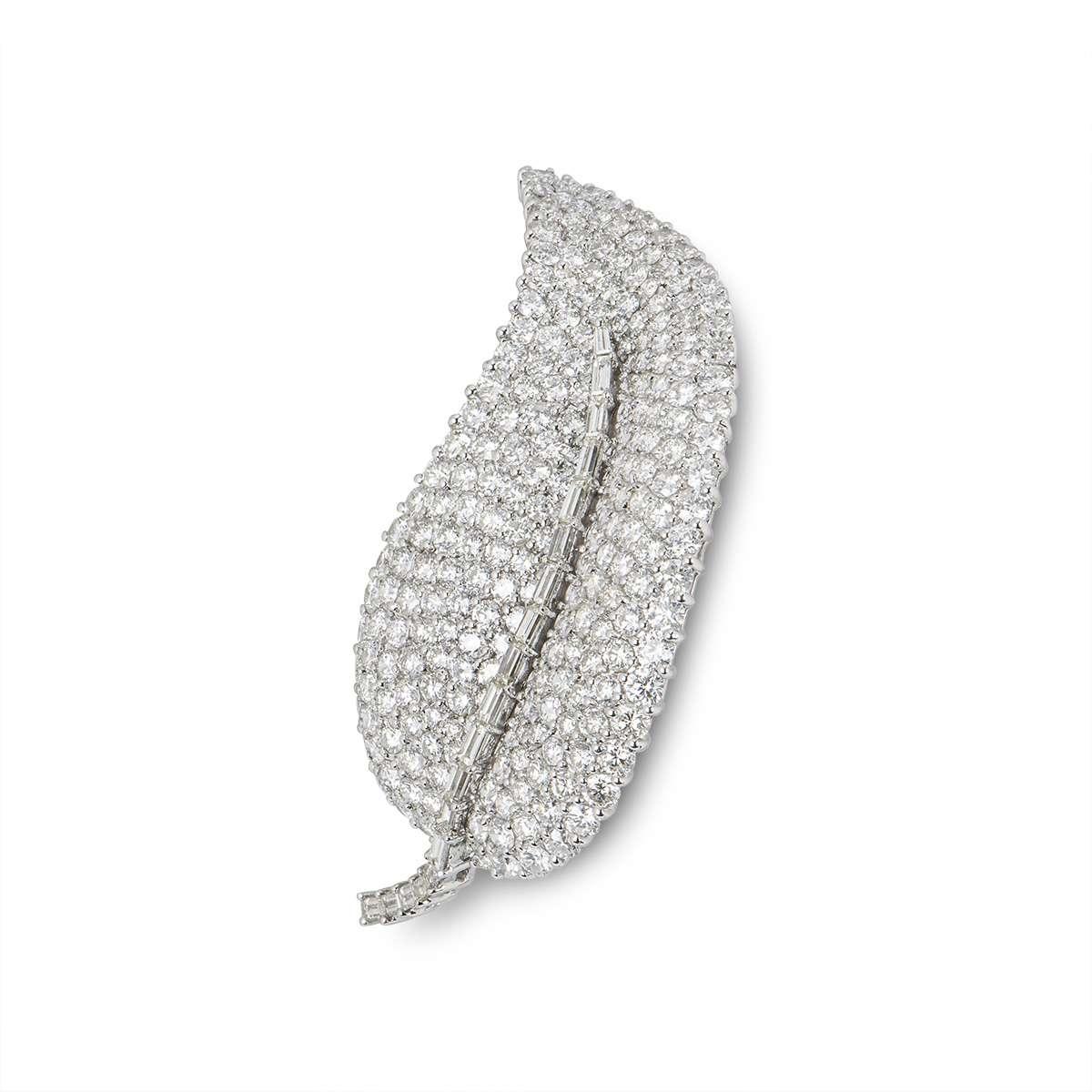 White Gold Diamond Set Leaf Brooch